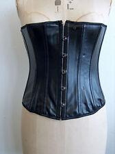 Black fetish sexy basque corset boned ribbon back lace burlesque gothic rock M
