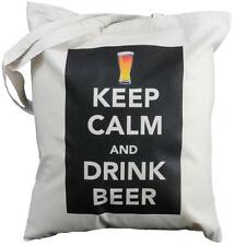Keep Calm and Drink Beer-Cotone Naturale Borsa a tracolla Tote, shopper Pinta