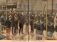 83 TOULON PRESIDENT LOUBET DUC DE GENES SUR BATEAU LEPANTO BOAT IMAGE 1901 PRINT