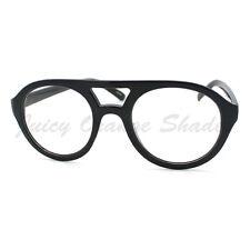 Super Retro Eyeglasses Clear Lens Flat Top Round Double Bridge Frame BLACK