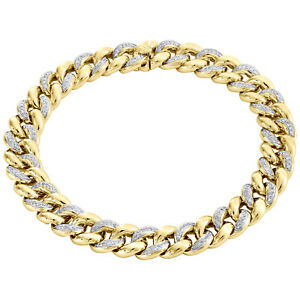 Genuine Diamond Miami Cuban Link Bracelet 1.26 Ct 10K Yellow Gold 9.5mm 8.5 Inch