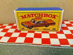 Matchbox Lesney No20  Chevrolet Impala Taxi Cab EMPTY Repro Box Only    NO CAR