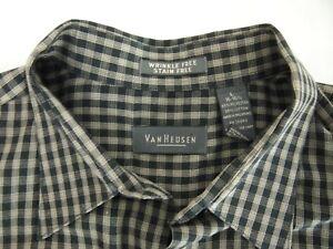 Van Heusen Mens Dress Shirt L 16-16 1/2 Wrinkle & Stain Free Black Beige Checker