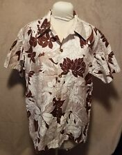 "Vintage ""ANDRADE"" Honolulu Hawaii Men's Hawaiian Shirt 1970's Cream Brown"