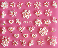 White Lace Flowers Hearts 3D Nail Art Stickers Decal UV Acrylic Tips Decoration