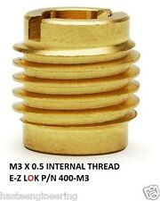 E-Z Lok P/N 400-M3, M3 Threaded Brass Insert For Wood  (10 Pieces)