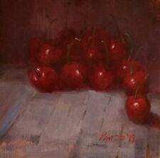 Cherries fruit kitchen wall art original oil on panel still life Patrick Pence