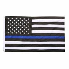3X5 Black White and Blue American Police Flag Embroidered Stars and Sewn Stripes