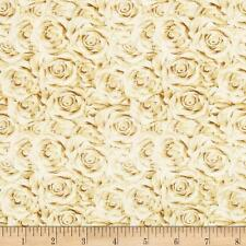 I Do Wedding Roses Champagne Quilting Treasures 100% cotton fabric by the yard