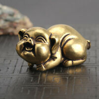 Chinese Old Antique Collectible Bronze Zodiac pig Exquisite hand piece statue
