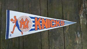 "Vintage RARE 1970's Sports NBA Basketball New York Knicks Souvenir Pennant 30"""