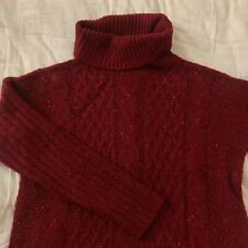 Women Korean-style Oversized Turtleneck Cable Knit Sweater Long Sleeve Red