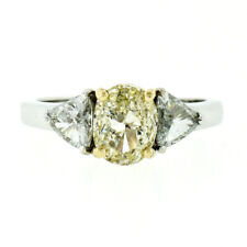 New 14k Gold 1.80ctw GIA Oval Yellow Diamond Solitaire Trillion Engagement Ring