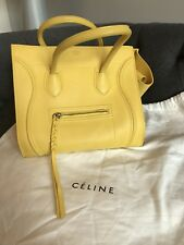 Authentic Celine Medium Luggage Phantom Bag in Yellow Leather