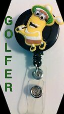 NEW Despicable Me Golf Golfer Minion ID Badge Retractable Reel Handmade Caddy