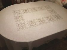 "Tan Cross-Stitch Design on Off-White TABLECLOTH 88"" x 60"" Rectangle Shape"