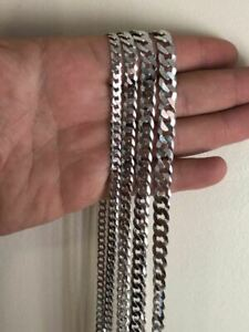 "Solid 925 Silver Men's Womens Cuban Link Flat Chain 4-8mm 18-30"" Italy WHOLESALE"