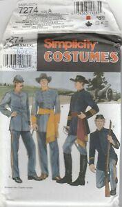 Simplicity Sewing Pattern 7274 Men's Civil War Military Uniform Costumes XS-XL