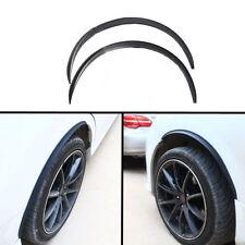 2x Universal Car Fender Wheel Eyebrow Protector Black Carbon Fiber Rubber Strip