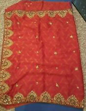 Gorgeous Light soft Orange/Red Saree with Blouse piece attached NEW