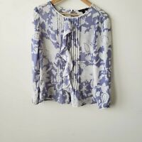 Banana republic women's floral ruffle purple white blouse size XS