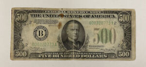 Series 1934-A $500 Federal Reserve Note Bank Of New York #B00320773A Fine Detail