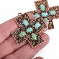 2 Cross Charms, Copper Ox with Turquoise Blue, 43mm, chs3846