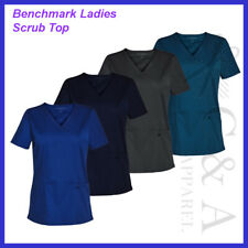 Benchmark Ladies V Neck Scrubs Top With Permanent Anti-microbial Protection New