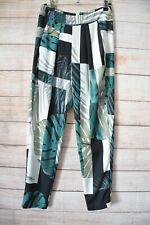 Sheike Lounge Pants Size 6 Green Black White Floral Tapered Leg