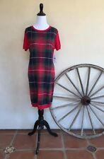 TOMMY HILFIGER Red Green Blue White Plaid Short Sleeve Sweater Dress M