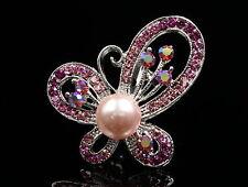 Plata Cristal Imitación Perla Flor Rosa Diamante Estrás Broche Pin Bufanda