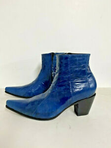 Sharp toe ankle boots in denim color cracked leather Made to order to your size.