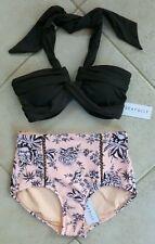 Seafolly Bikini AU 10 Steel Goddess Bandeau & Love Bird Peach High Waist Pant