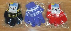 Lot of 3 Red, Purple, Blue / Yellow Kids Oker Magic Winter Gloves **READ**