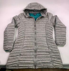 Womens PATAGONIA Goose Ultralight Down Fiona Hoody Zip Parka Jacket XL Grey aqua