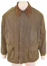 BARBOUR Mens Waxed Cotton Jacket Size 40 Large Khaki Bedale  NL04