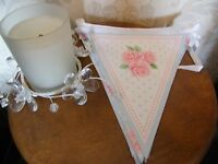 Party Paper Bunting 3m Shabby Chic Vintage Floral Bunting Afternoon Tea Wedding
