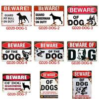 Metal Tin Warning Sign Beware of dog Wall Decor Home Art Poster Bar Pub Club