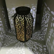 Portable Wrought Iron Solar LED Lantern Indoor/Outdoor Hollow Moroccan Style