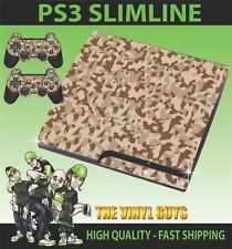 Playstation Ps3 Slim Camuflaje del desierto camuflaje del ejército de la etiqueta engomada de la piel y 2 Pad Skins