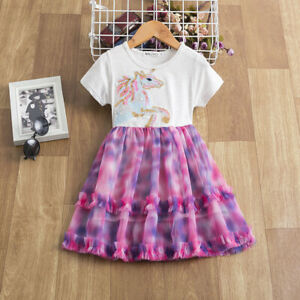Flower Girls Lace Tulle Lace Casual Unicorn Dress Party Kids Clothes Size 3-8