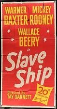 SLAVE SHIP Mickey Rooney Walace Berry ORIGINAL 1948 3-SHEET Movie Poster