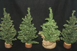 """Lot of 4 Mini Pine Christmas Trees with Wood and Burlap Bases 12"""""""