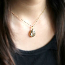 Natural Green Amethyst Pendant Pear Solid 18k Yellow Gold Necklace Free Chain