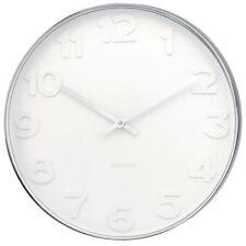 Wanduhr Mr. White weiß silber polierter Edelstahl Uhr Luxus Design analog 37,5 Ø