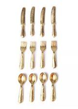 Dollhouse 12 Miniature Utensil Set Lot Gold 1:12 Scale 2cm US Seller