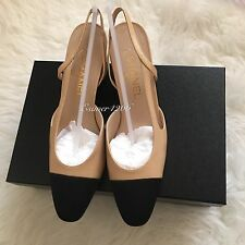 NIB 2016 CHANEL Two-Tone Beige Black Leather Slingbacks Shoes Pump size 38.5