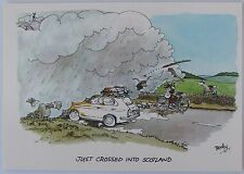 "Cartoon postcard ""Just crossed into Scotland"""