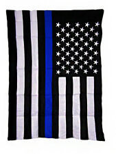 "28x40 Embroidered USA Police Blue Line 300D Sleeved Garden Flag 28""x40"" Nylon"