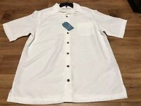 New Roundtree & Yorke Caribbean Shirt White Wood Button Down LT Large Tall Man